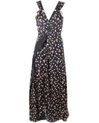 Robe longue à fleurs Self-Portrait en coloris Black