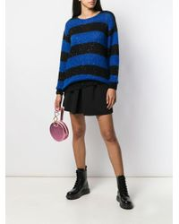 Maglione a righe con paillettes di Miu Miu in Blue