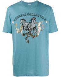 メンズ Versace ロゴプリント Tシャツ Blue