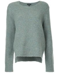 Rag & Bone Blue Ribbed Knit Elbow Patch Sweater