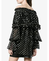 Saint Laurent Black Off-shoulder Polka Dot Silk Blouse