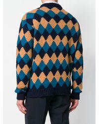 Prada Blue Rhomb-design Loose Sweater for men