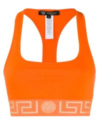 Versace Greek Key スポーツブラ Orange