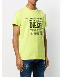 メンズ DIESEL プリント Tシャツ Yellow
