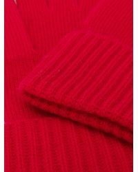 N.Peal Cashmere リブニット手袋 Red