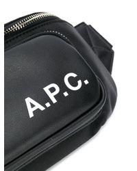 メンズ A.P.C. Camden ロゴ ベルトバッグ Black