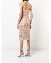 Marchesa notte Pink Feather Embroidered Sleeveless Dress