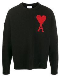 メンズ AMI オーバーサイズ セーター Black