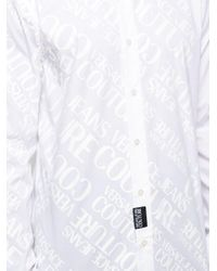 Versace Jeans White Logo Printed Buttoned Shirt for men