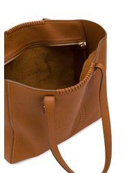 Ferragamo Brown Perforated Gancio Tote Bag