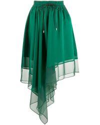 Jupe asymétrique à taille haute Sacai en coloris Green