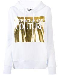 Versace Jeans White Metallic Logo Hoodie