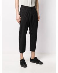 Thom Krom Black Drawstring Drop-crotch Trousers for men