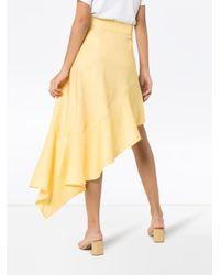Rejina Pyo Yellow High Waist Asymmetric Ruffle Skirt