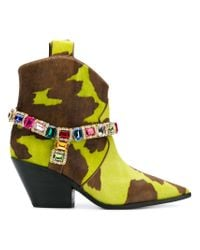 Casadei Green Stone Embellished Ankle Boots