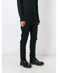 Masnada Black Gathered Tapered Trousers for men