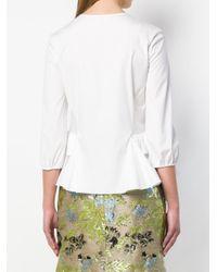 Rochas White Tiered Peplum Shirt