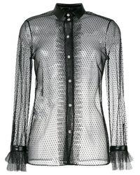 Philosophy Di Lorenzo Serafini Black Sheer Mesh Embroidered Blouse