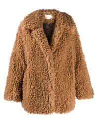 NEUL Brown Oversized-Mantel aus Faux Shearling
