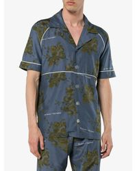 Off-White c/o Virgil Abloh Blue X Browns Floral Print Cotton Shirt With Piping for men
