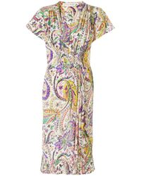 Etro Multicolor Floral Print Gathered Dress