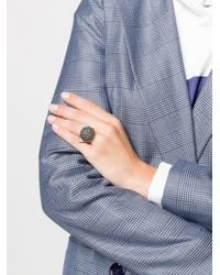 Karl Lagerfeld Metallic Faceted Choupette Ring