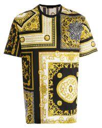 Versace Black Baroque Print T-shirt for men