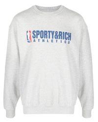Sweat à logo imprimé Sporty & Rich pour homme en coloris Gray