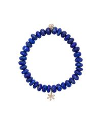 Sydney Evan - Blue Lapis Beaded Bracelet With Diamond Flower Charm - Lyst