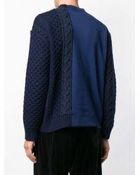 メンズ Versace ニットパネル スウェットシャツ Blue