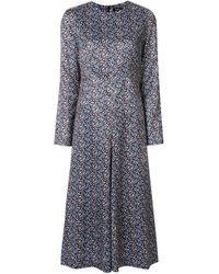Goen.J Brown Floral-print Flared Panel Midi Dress