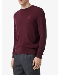 Burberry Red Cashmere Monogram Motif Sweater for men