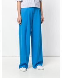 Victoria, Victoria Beckham Blue Oversized Tailored Trousers