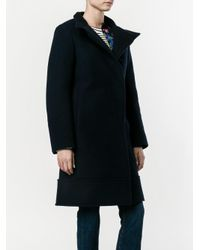 Chloé - Blue Belted Stand-up Collar Coat - Lyst