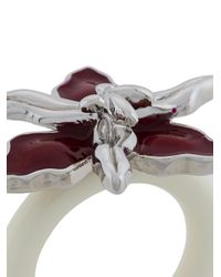 Marni - Red Floral Enamel Ring - Lyst