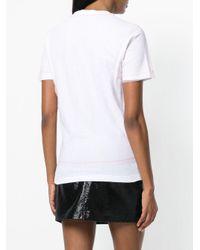 DSquared² White Ruffle Front T-shirt