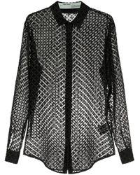 Camisa translúcida con bordado de flechas Off-White c/o Virgil Abloh de color Black