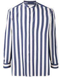 Salvatore Piccolo Blue Mandarin Neck Striped Shirt for men