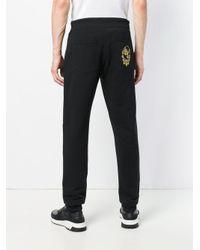 Versace Jeans Black Logo Embroidered Track Pants for men