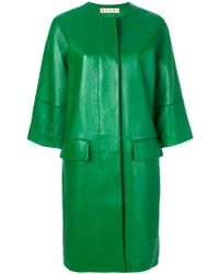 Marni Green Oversized Leather Lambskin Coat