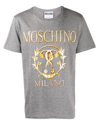Moschino T-Shirt mit Logo-Print in Gray für Herren
