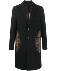 Fendi Black Shaded Effect Ff Motifs Coat for men