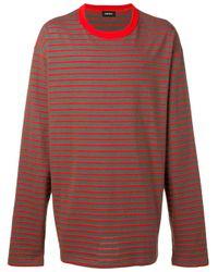 メンズ DIESEL ストライプ ロングtシャツ Multicolor