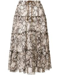 See By Chloé - Natural Tiered Snakeskin-print Midi Skirt - Lyst