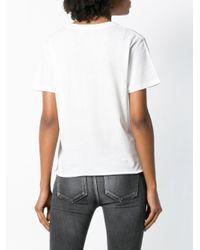 Saint Laurent White T-Shirt mit Sterne-Print