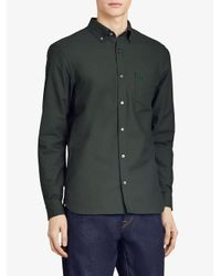 Burberry - Green Check Detail Oxford Shirt for Men - Lyst