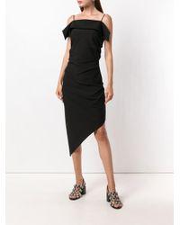 Vestido asimétrico con tirantes finos Helmut Lang de color Black