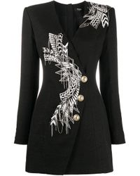 Balmain ビーズトリム ドレス Black