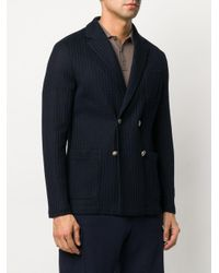 Altea Blue Knitted Double Breasted Blazer for men