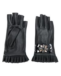 Twin Set - Black Embellished Fingerless Gloves - Lyst